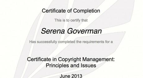 Copyright Training Certificate