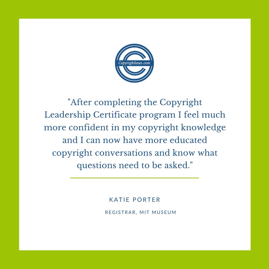 Online copyright course testimonial
